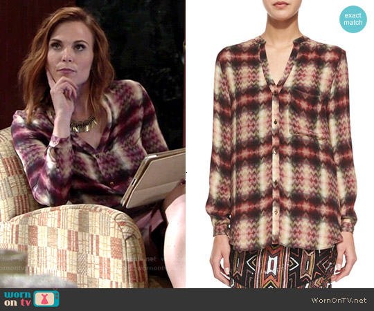 Haute Hippie Long-Sleeve Henley Top in Tribal Chevron Plaid worn by Gina Tognoni on The Young & the Restless