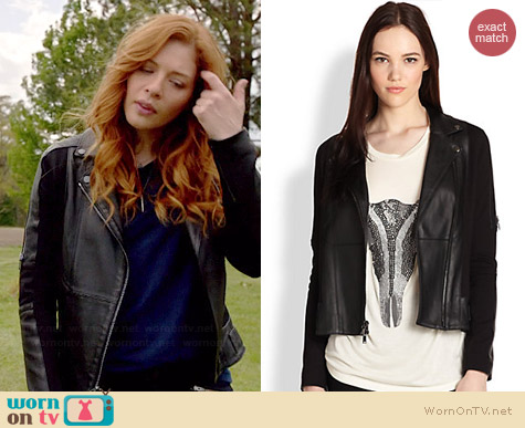 Haute Hippie Ponte Leather Moto Jacket worn by Rachelle Lefevre on Under the Dome
