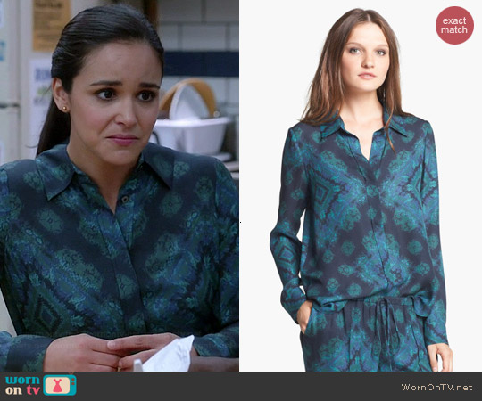 Haute Hippie Printed Silk Blouse worn by Melissa Fumero on Brooklyn 99
