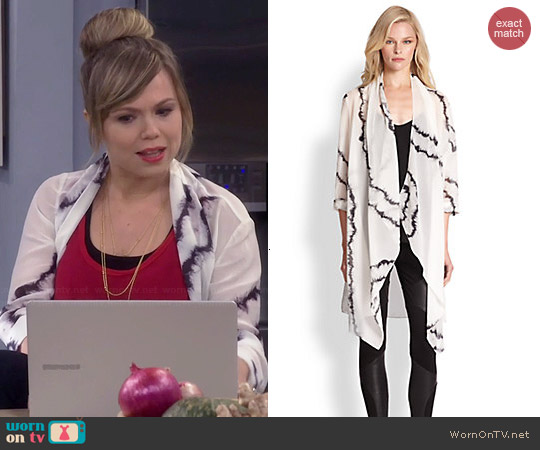 Haute Hippie Printed Silk Chiffon Cardigan worn by Amanda Fuller on Last Man Standing