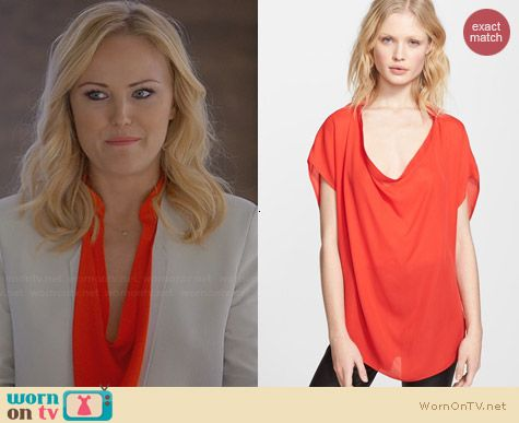 Haute Hippie Silk Blouse in Paprika worn by Malin Akerman on Trophy Wife