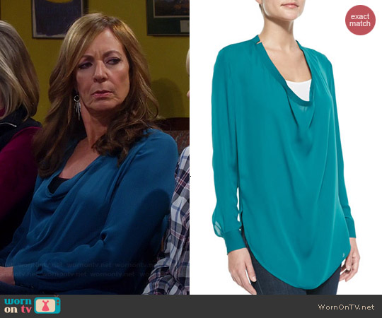 Haute Hippie Silk Cowl Neck Blouse worn by Allison Janney on Mom
