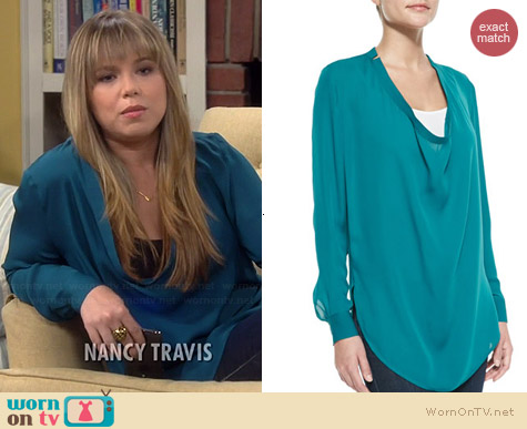 Haute Hippie Silk Cowl Neck Blouse worn by Amanda Fuller on Last Man Standing