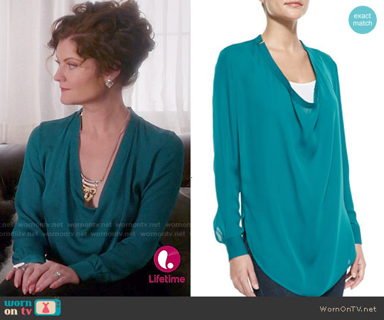 Haute Hippie Silk Cowl Neck Blouse worn by Rebecca Wisocky on Devious Maids