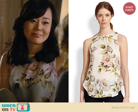 Haute Hippie Silk Draped Cutout Back Floral Top worn by Yunjin Kim on Mistresses