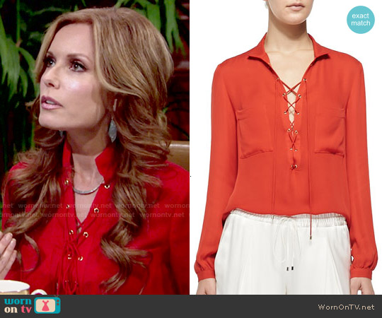 Haute Hippie Silk Lace Up Neck Blouse worn by Tracey Bregman on The Young & the Restless