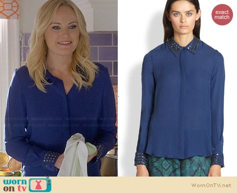 Haute Hippie Silk Open Back Studded Shirt in Sapphire worn by Malin Akerman on Trophy Wife