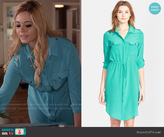 Haute Hippie Long Sleeve Silk Shirtdress worn by Sasha Pieterse on PLL