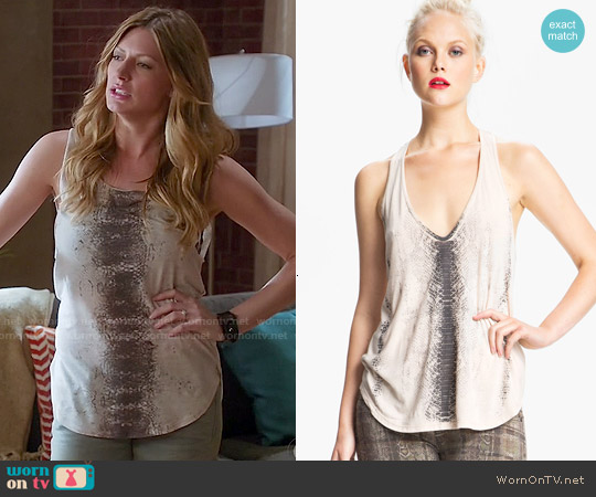 Haute Hippie Snake Print Tank worn by Jes Macallan on Mistresses
