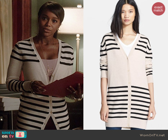 Haute Hippie Striped Merino Wool Cardigan worn by Aja Naomi King on HTGAWM