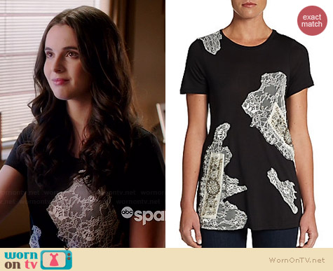Haute Hippie Lace Embellished Tee worn by Vanessa Maran on Switched at Birth
