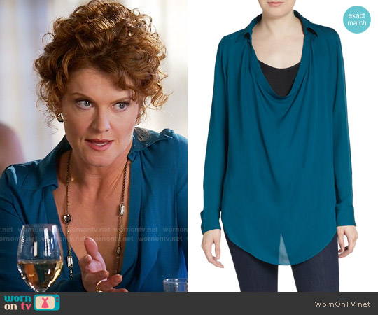Haute Hippie Washed Silk Draped Blouse in Sadona worn by Rebecca Wisocky on Devious Maids