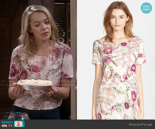 Haute Hippie Wildflower Print Crop Top worn by Sadie Calvano on Mom
