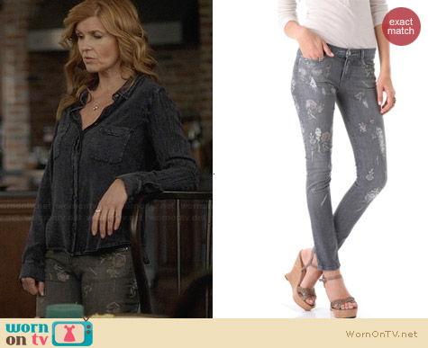 Haute Hippie Embroidered Skinny Jeans worn by Connie Britton on Nashville