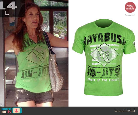 Hayabusa Jiu Jitsu Green Tshirt worn by Kate Walsh on Bad Judge