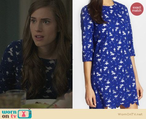 HBO Girls Fashion: Cynthia Steffe Blue Vida Lace Dress worn by Allison Williams