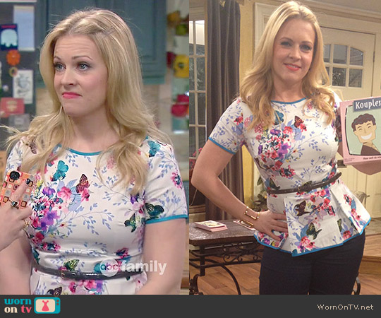 Heather Pain Floral Peplum Top worn by Melissa Joan Hart on Melissa & Joey