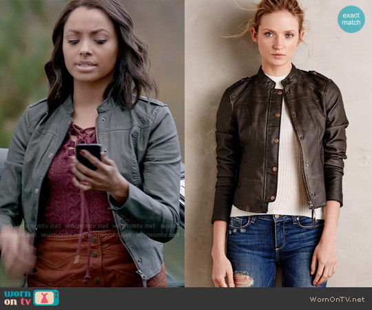 Hei Hei Vegan Leather Bomber worn by Bonnie Bennett on The Vampire Diaries
