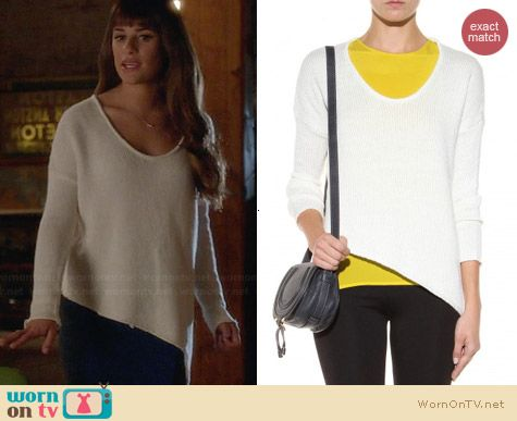Helmut Lang Asymmetric Sweater worn by Lea Michele on Glee