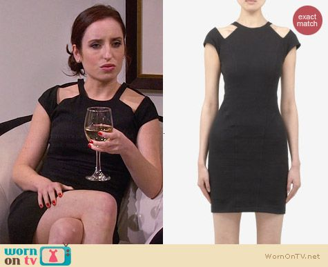 Helmut Lang Black Shoulder Cutout Dress worn by Zoe Lister Jones on FWBL