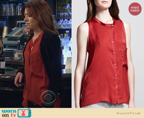 Helmut Lang Button Front Racerback Top in Harrow worn by Alyson Hannigan on HIMYM