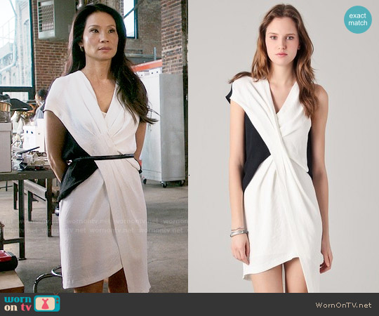 Helmut Lang Cross Tuck Dress worn by Lucy Liu on Elementary