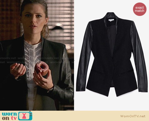 Helmut Lang Crux Leather Sleeve Jacket worn by Stana Katic on Castle