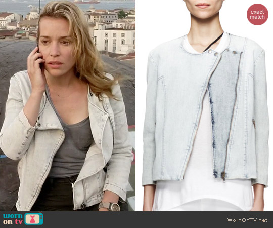 Helmut Lang Denim Moto Jacket worn by Piper Perabo on Covert Affairs