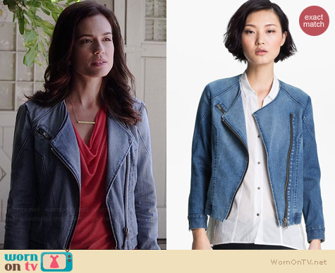 Helmut Lang Denim Moto Jacket worn by Torrey DeVitto on PLL