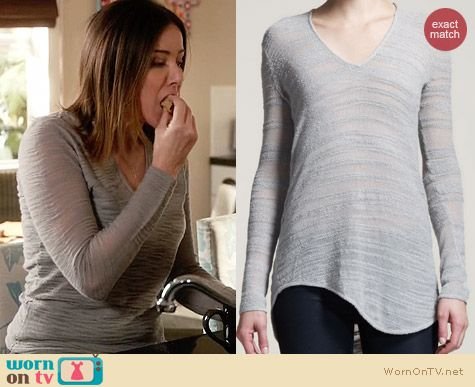Helmut Lang Destroyed Boucle Sweater in Grey worn by Christa Miller on Cougar Town
