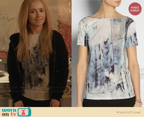 Helmut Lang Draped Back Tidal Print Tee worn by Hayden Panettiere on Nashville