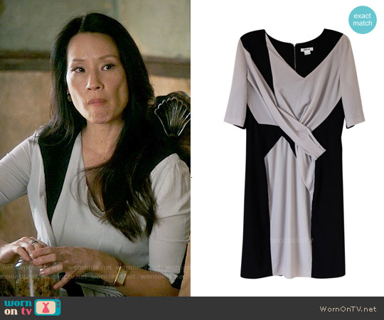 Helmut Lang Draped Colorblock Dress worn by Lucy Liu on Elementary