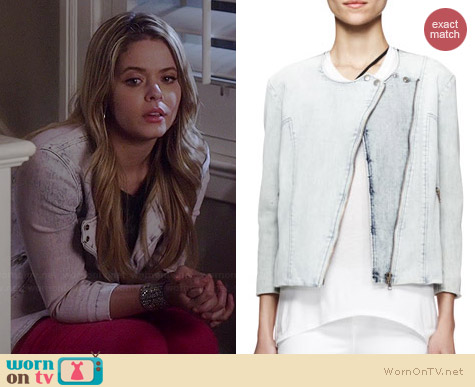 Helmut Lang Faded Denim Moto Jacket worn by Sasha Pieterse on PLL