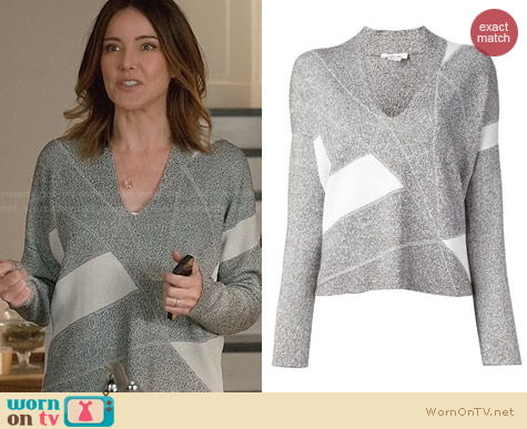 Helmut Lang Geometric Panel Sweater worn by Christa Miller on Cougar Town