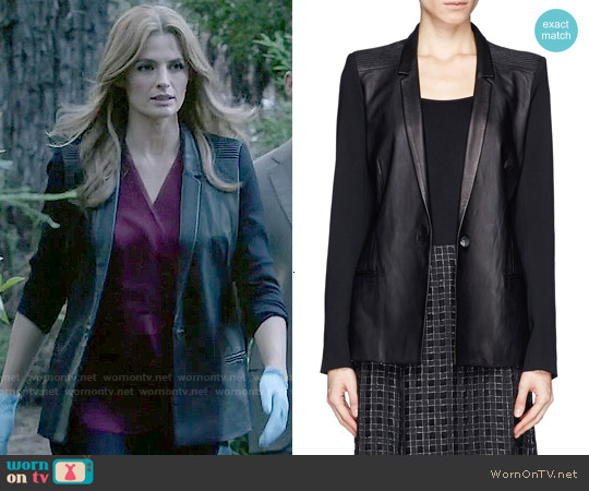 Helmut Lang Ink Leather Wool Combo Blazer worn by Stana Katic on Castle