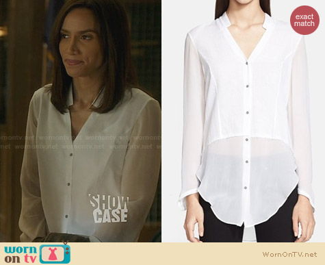 Helmut Lang Lawn Shirt worn by Nina Lisandrello on BATB