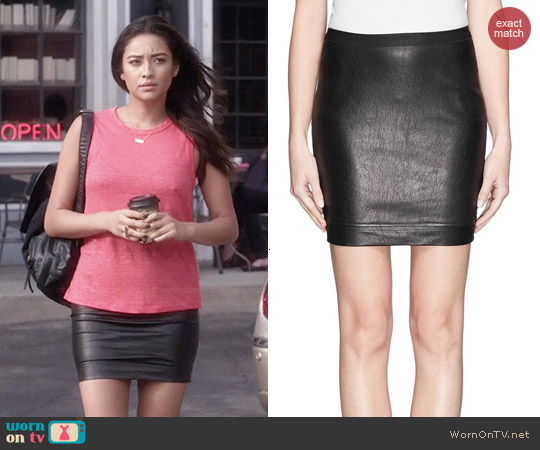 Helmut Lang Leather Skirt worn by Emily Fields on PLL