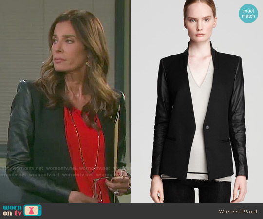 Helmut Lang Leather Sleeve Blazer worn by Hope Williams on Days of our Lives