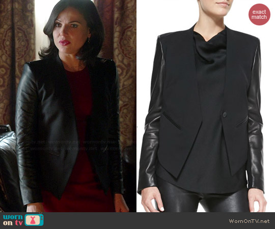 Helmut Lang Leather Sleeve Tuxedo Jacket worn by Lana Parilla on OUAT