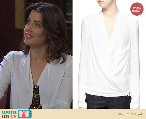 Helmut Lang Leather Trim Wrap Blouse worn by Cobie Smulders on HIMYM