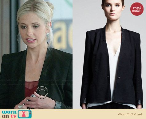 Helmut Lang Leather Trimmed Cove Suiting Blazer worn by Sarah Michelle Gellar on The Crazy Ones