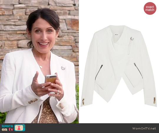 Helmut Lang Leather Trimmed Crepe Jacket worn by Lisa Edelstein on GG2D