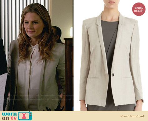 Helmut Lang Slim Lapel Blazer worn by Stana Katic on Castle