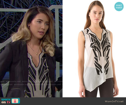 Helmut Lang Lyra Applique Top worn by Jacqueline MacInnes Wood on The Bold & the Beautiful