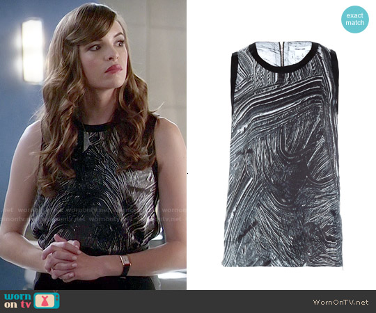 Helmut Lang Method Print Top worn by Danielle Panabaker on The Flash