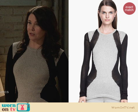 Helmut Lang Obstructed Borders Sweater worn by Lauren Graham on Parenthood