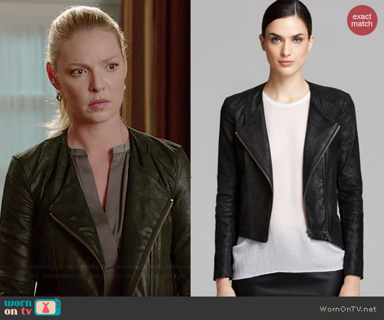 Helmut Lang Patina Leather Jacket worn by Katherine Heigl on State of Affairs