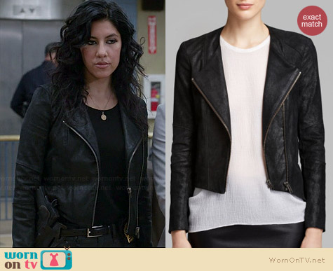 Helmut Lang Patina Leather Jacket worn by Stephanie Beatriz on Brooklyn 99