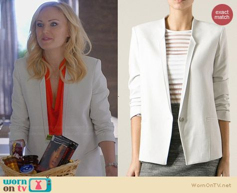 Helmut Lang Ruched Sleeve Blazer worn by Malin Akerman on Trophy Wife