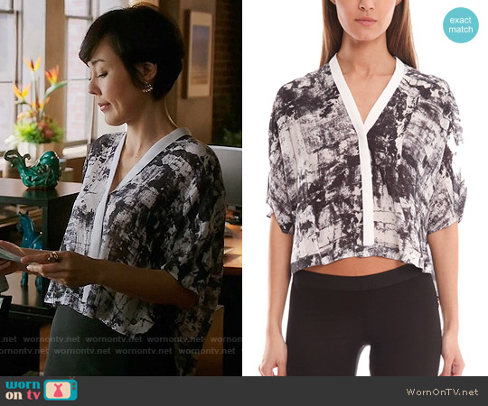 Helmut Lang Scriber Print Shirt worn by Yunjin Kim on Mistresses
